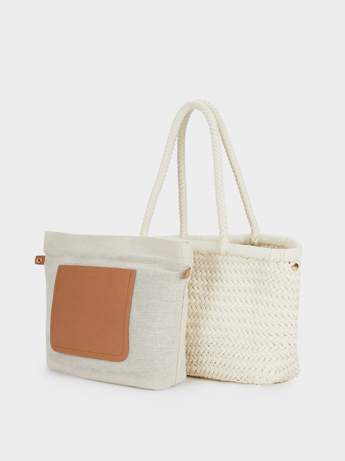 Hand Made Braided Tote Bag, White, hi-res