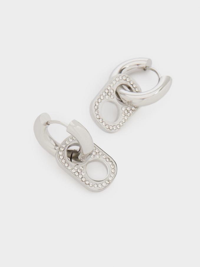 Stainless Steel Hoop Earrings With Crystals, Silver, hi-res