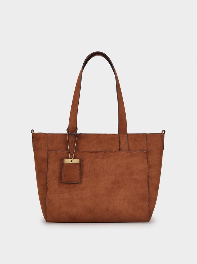 Suede Texture Tote Bag, Camel, hi-res