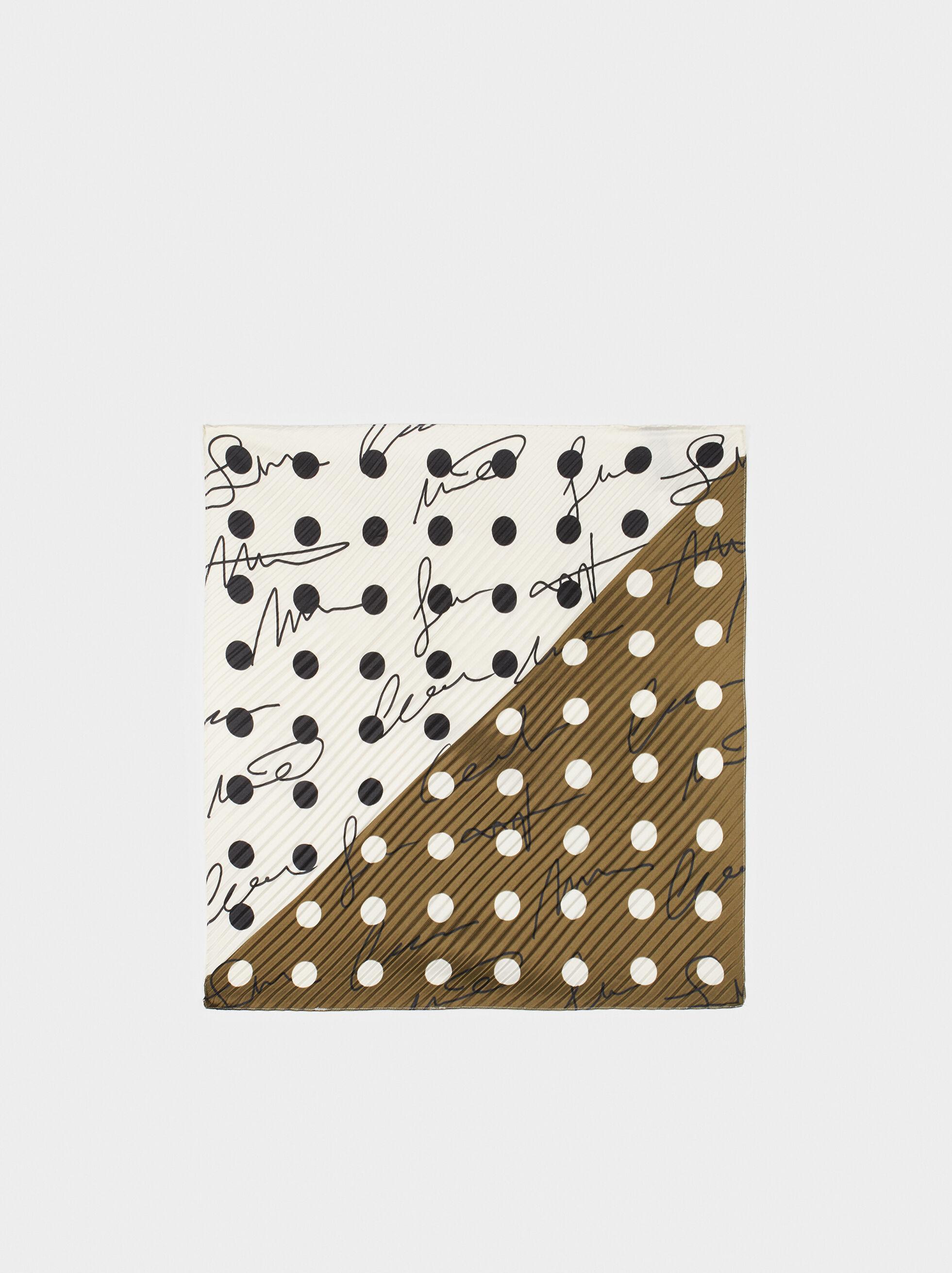 Pleated Printed Square Scarf, Khaki, hi-res