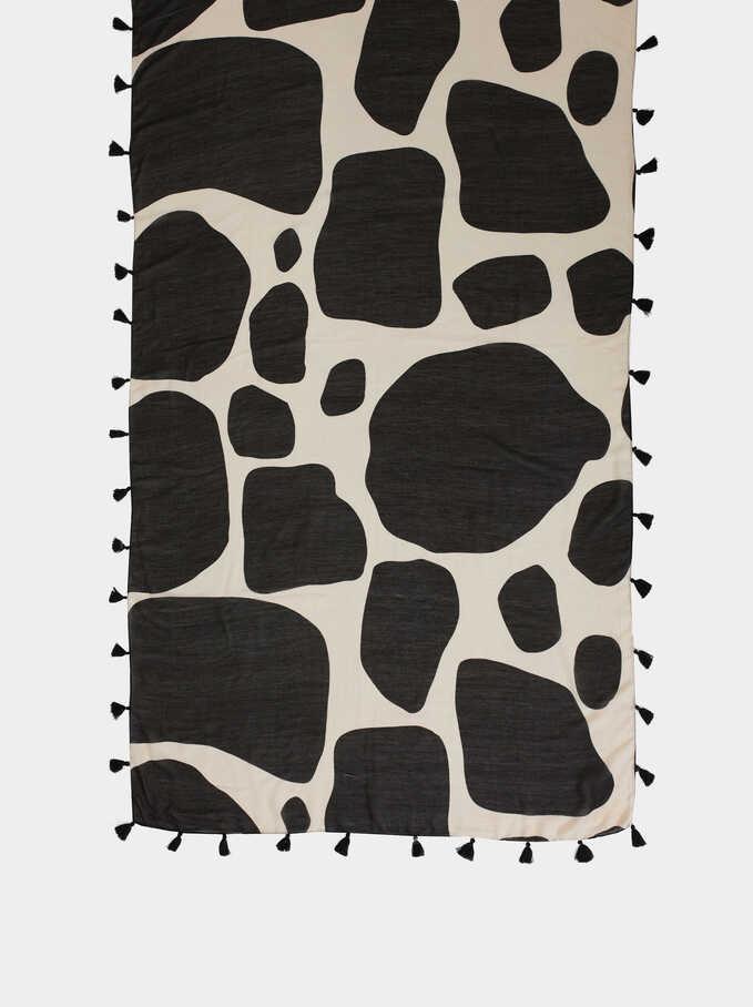 Animal Print Scarf, Black, hi-res