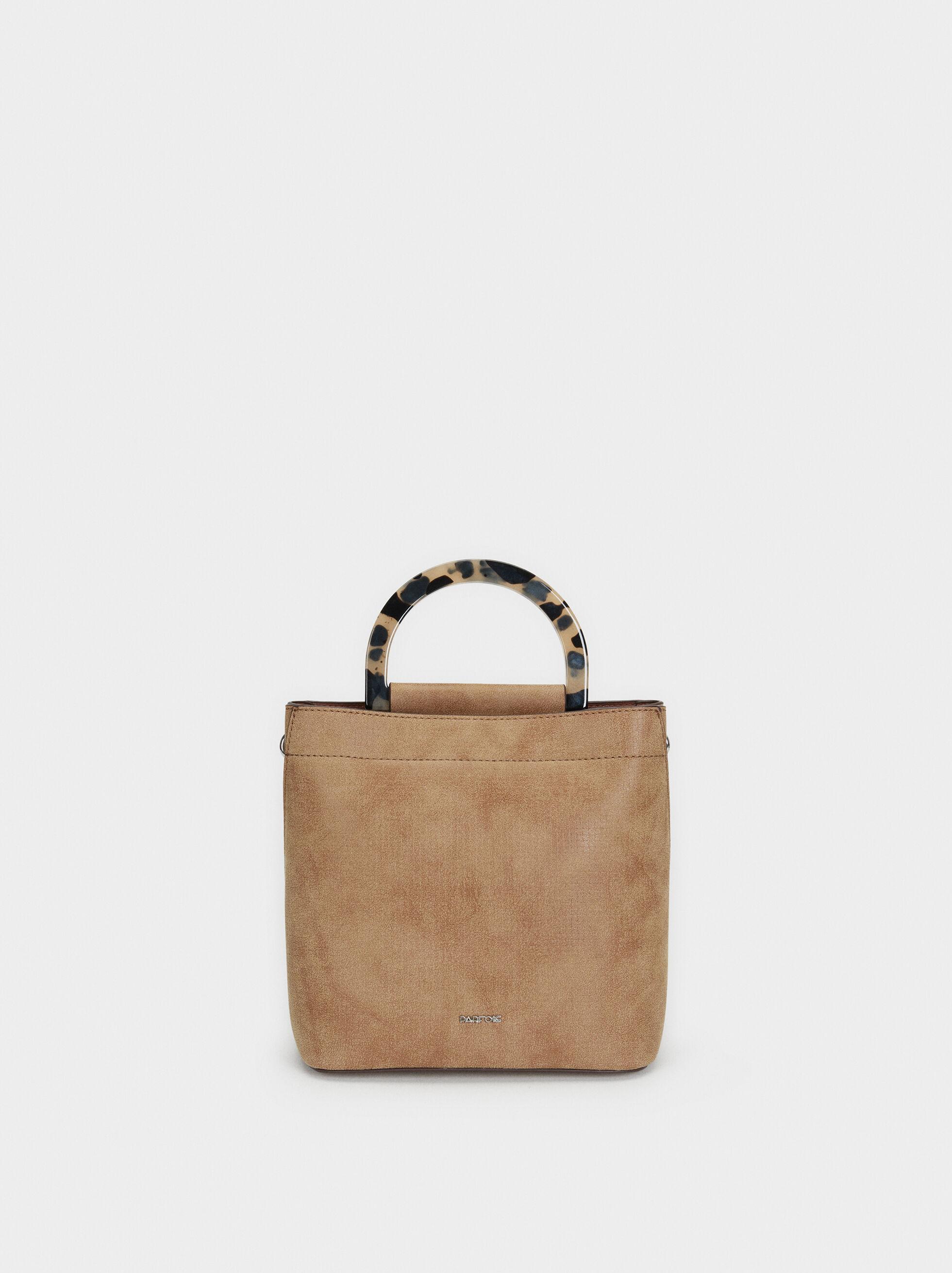 Faux Leather Bucket Bag, Camel, hi-res