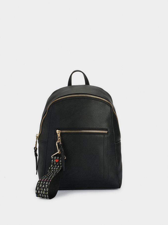 Embossed Backpack With Exterior Pocket, Black, hi-res