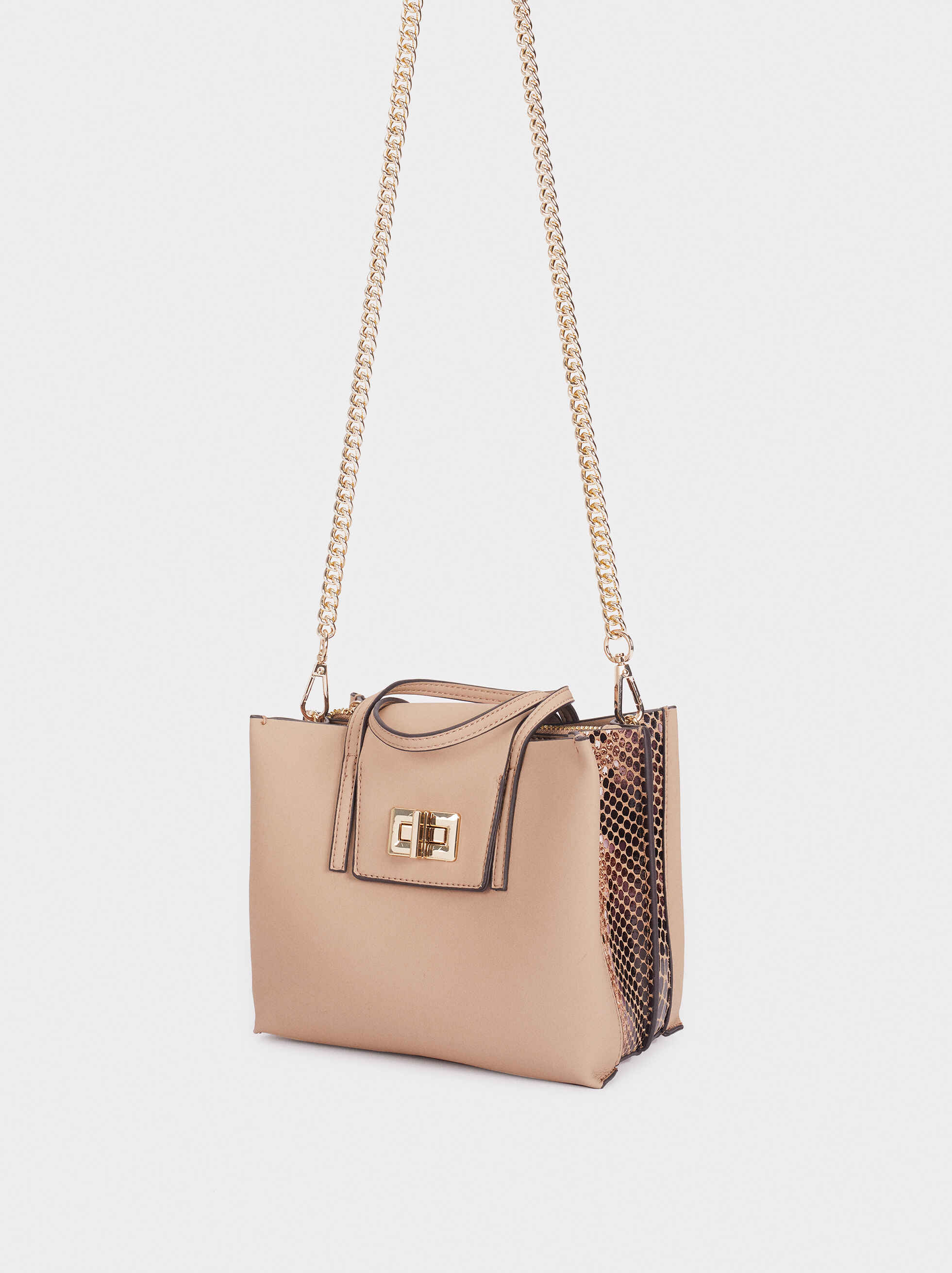 Tote Bag With Embossed Snakeskin Detailing, Beige, hi-res