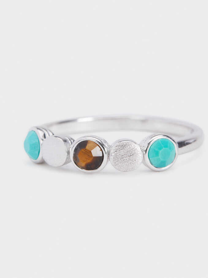 925 Silver Ring With Stones, Blue, hi-res