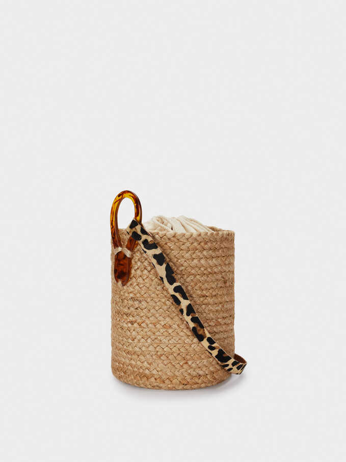 Raffia Textured Bucket Bag, Beige, hi-res