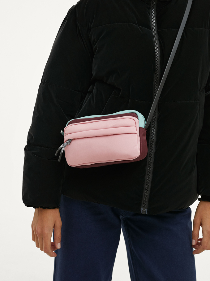 Nylon Crossbody Bag With String, Pink, hi-res