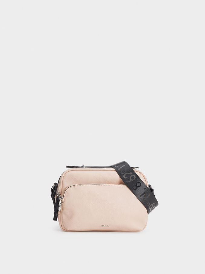 Shoulder Bag With Outer Pockets, Pink, hi-res