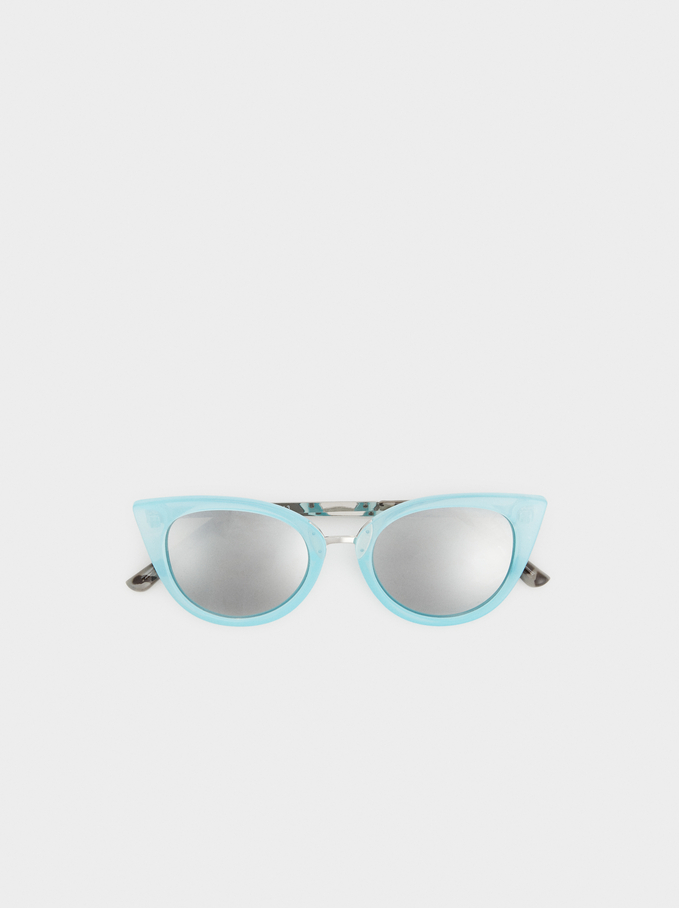 Cat Eye Sunglasses With Chain, Blue, hi-res
