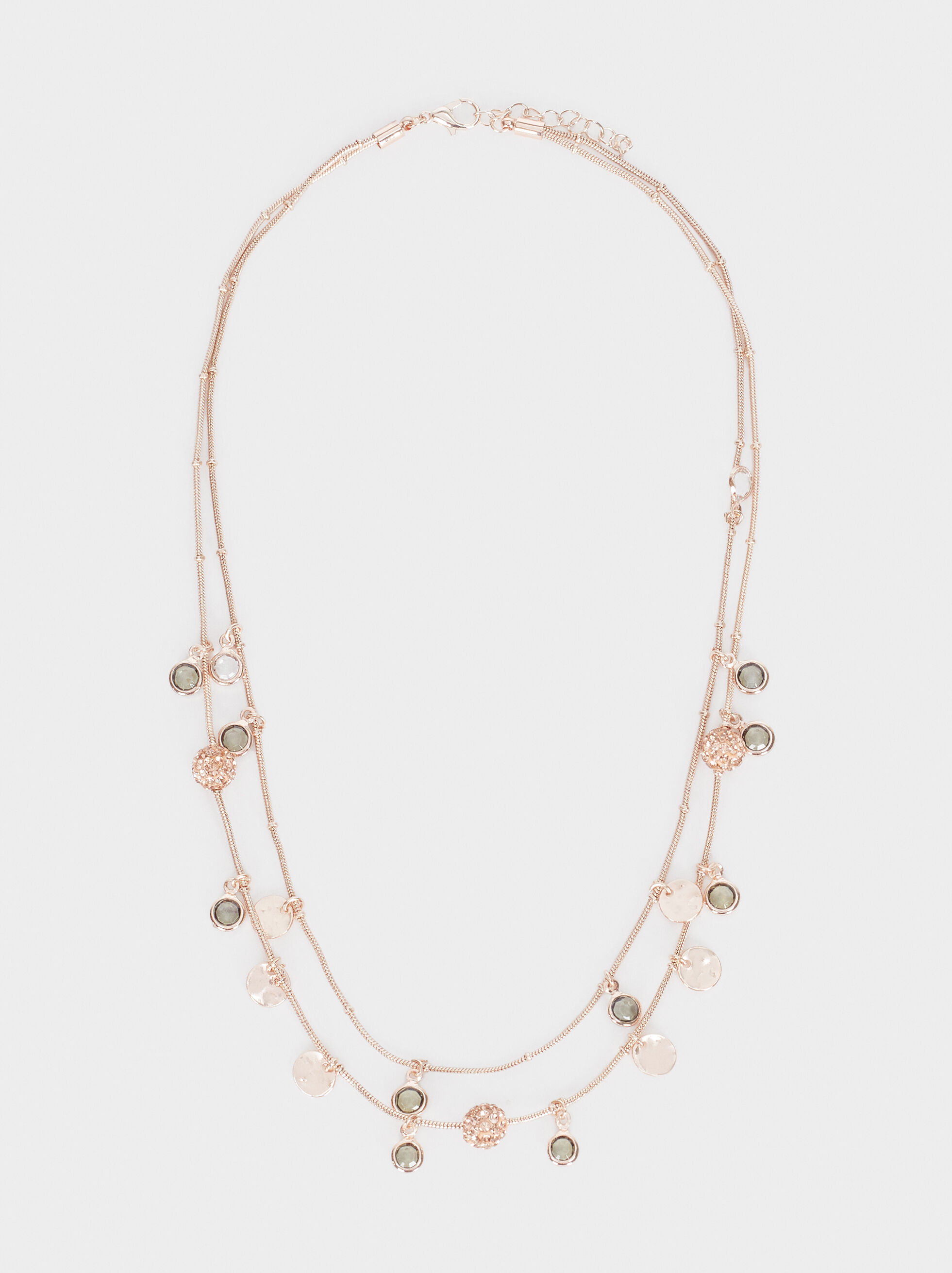 Short Rose Gold Necklace With Coins And Crystals, Orange, hi-res