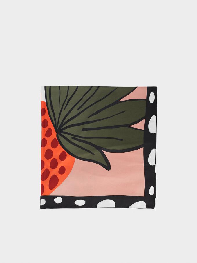 Foulard Carré À Imprimé Ananas Et Flamants Roses, Multicolore, hi-res