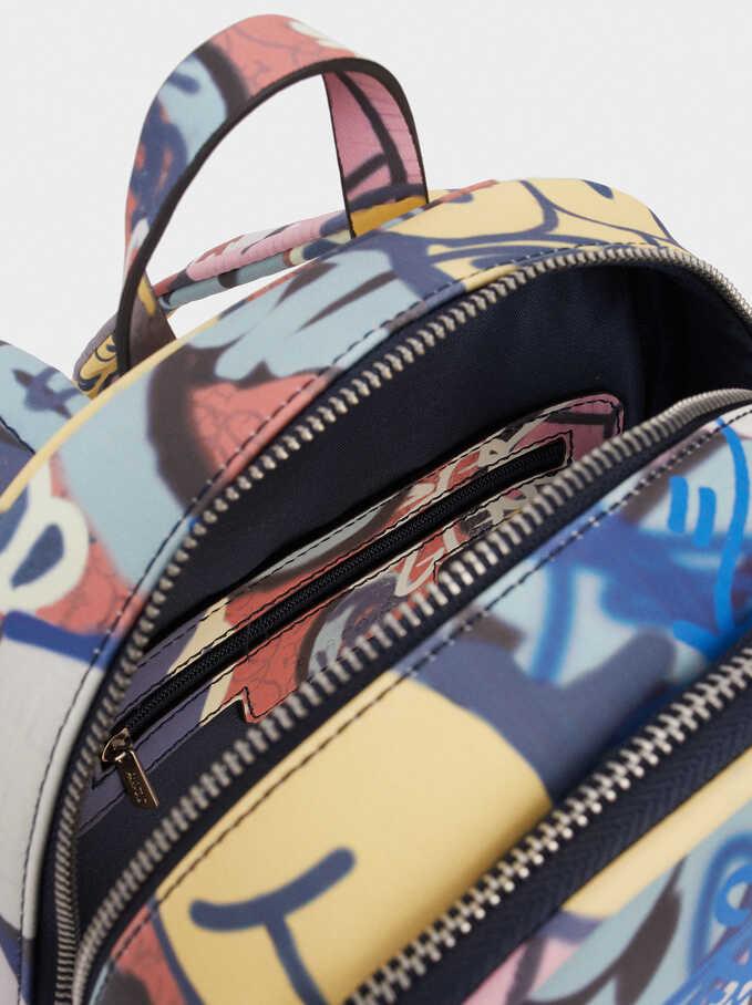 Graffiti Print Backpack, Blue, hi-res
