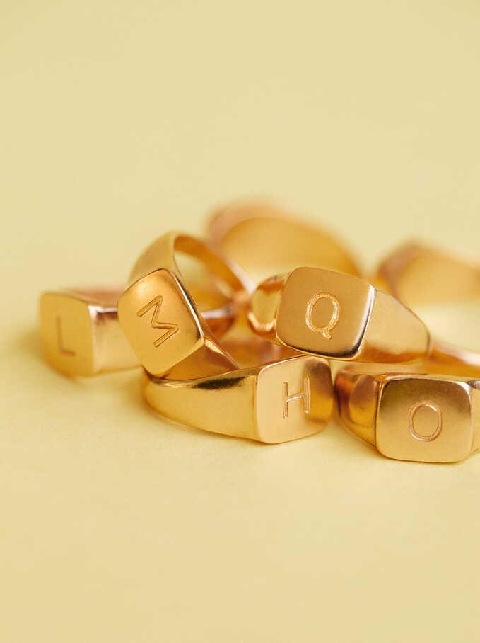 Signet Ring Size L, Golden, hi-res
