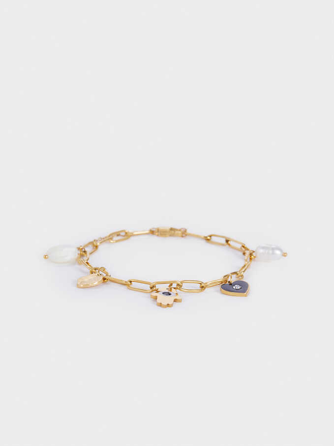 Gold-Toned Steel Bracelet With Pearl And Charms, Black, hi-res
