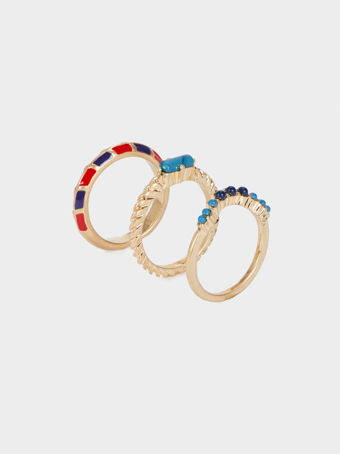 Set Of Gold Rings With Stone Details, Multicolor, hi-res