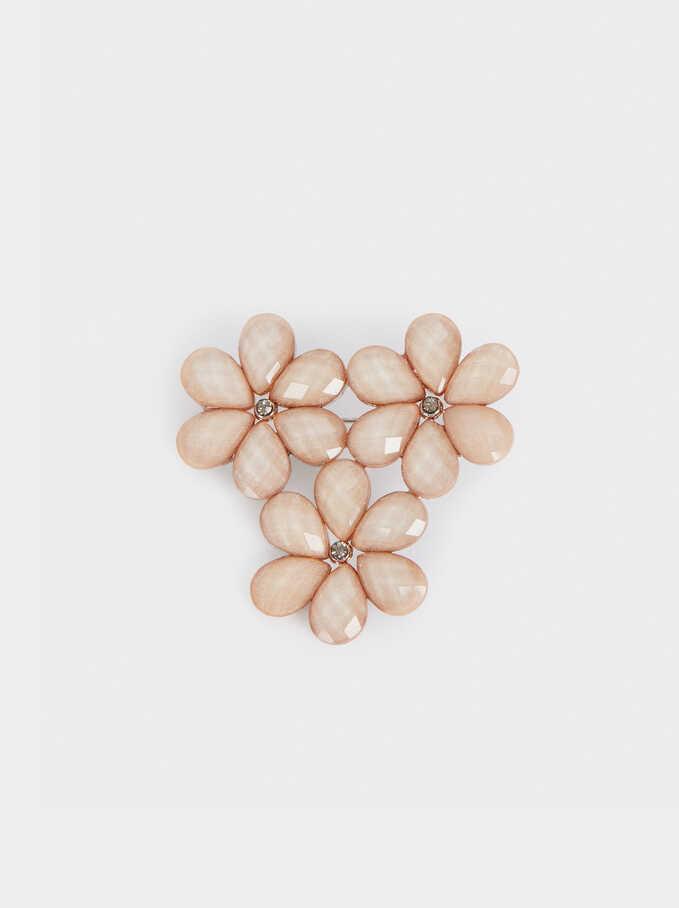 Broche Flores Con Cristales, Plateado, hi-res