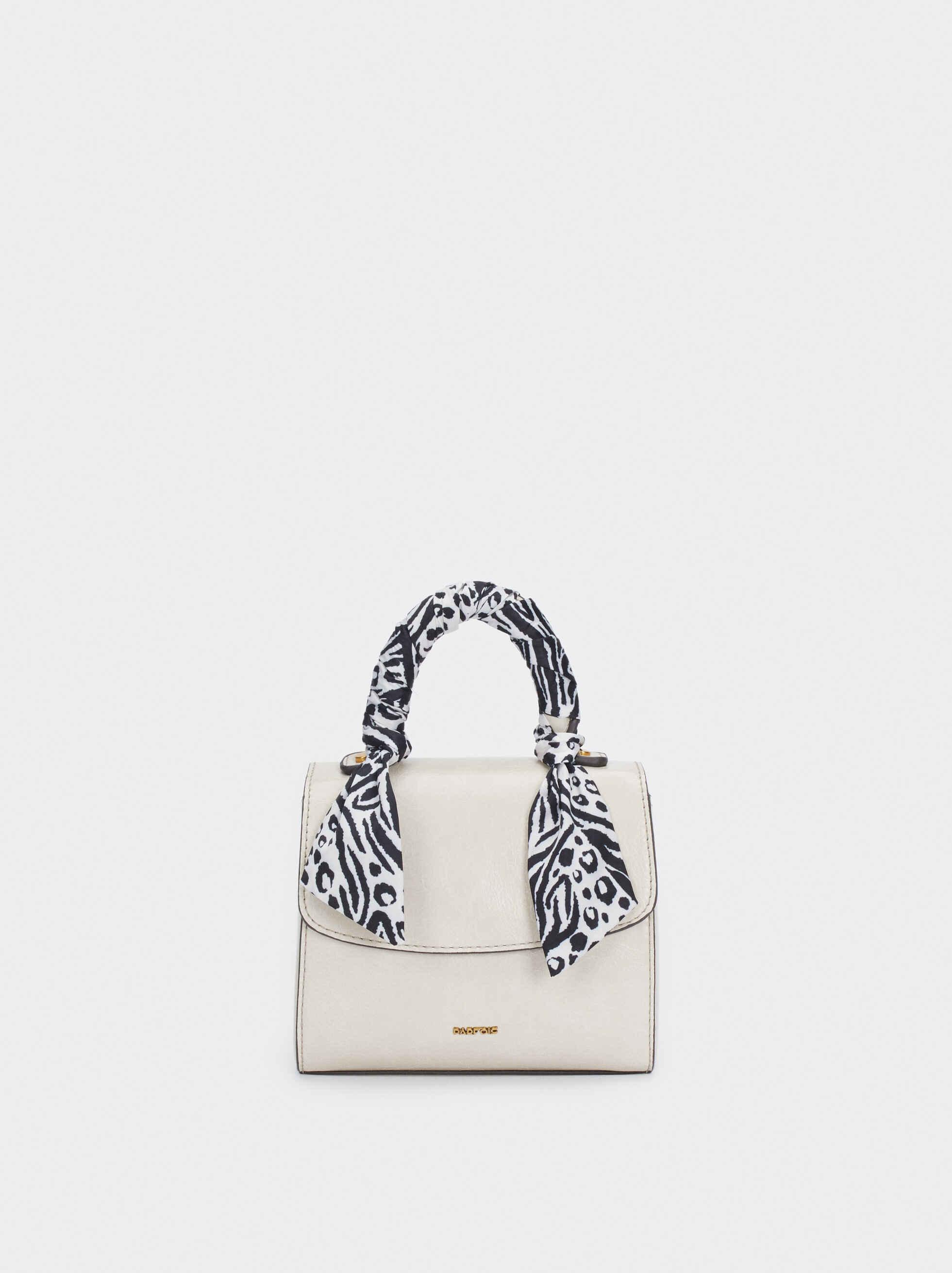 Crossbody Bag With Printed Handkerchief Handle, Ecru, hi-res