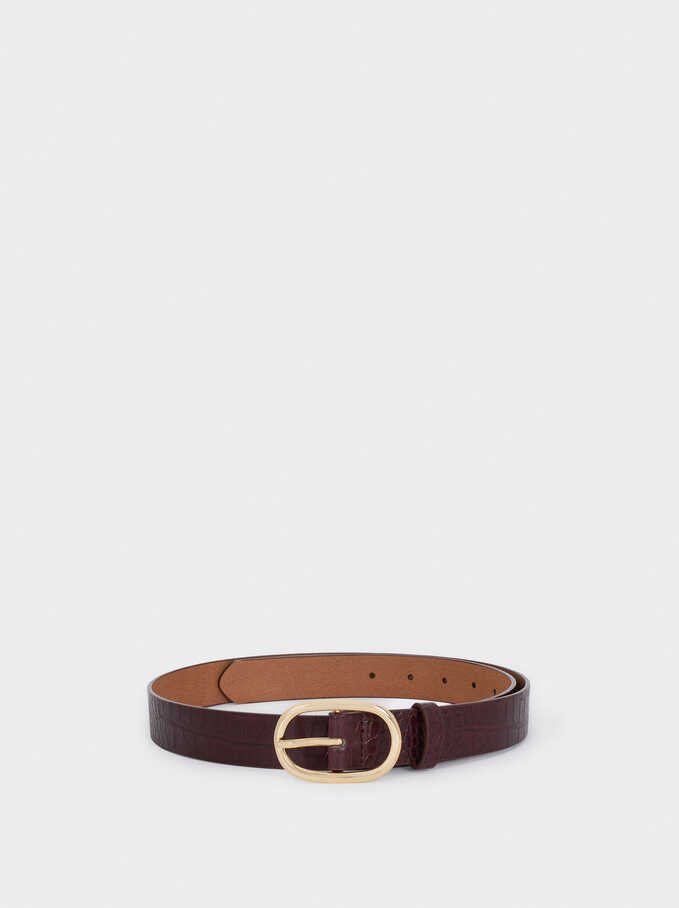 Thin Belt With Embossed Snakeskin, Bordeaux, hi-res