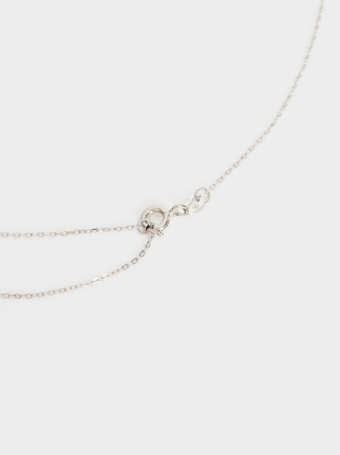 925 Silver Short Necklace With Faux Pearls, Beige, hi-res