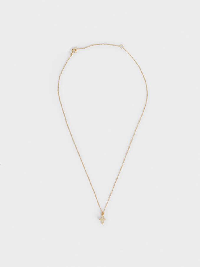 925 Sterling Silver Short Necklace, Golden, hi-res
