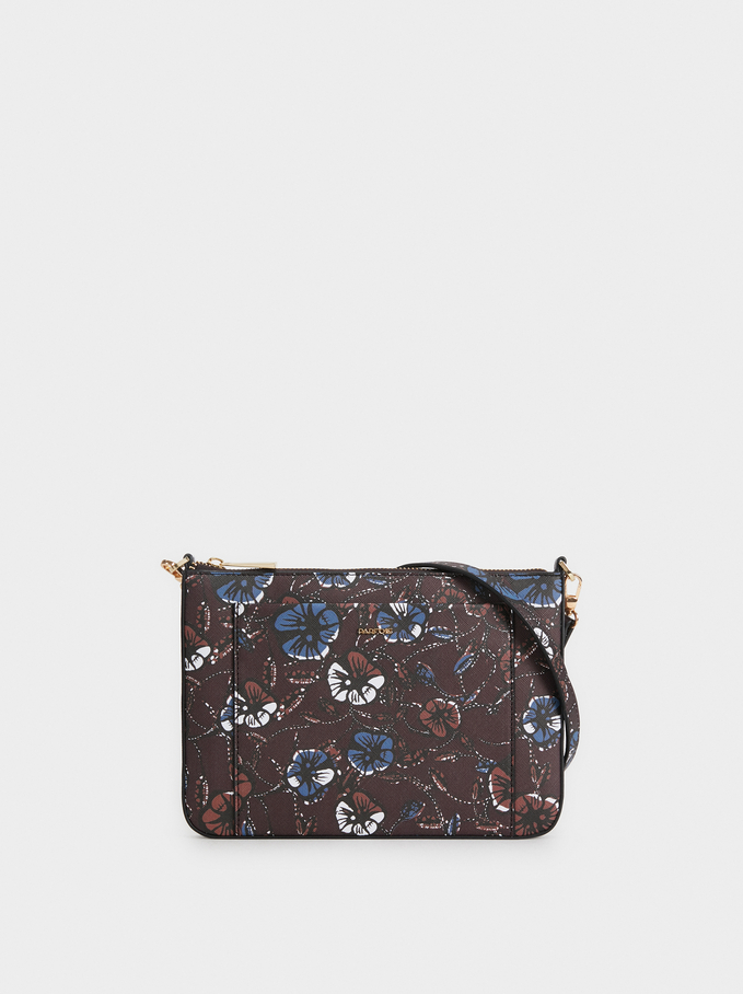 Floral Print Crossbody Bag, Multicolor, hi-res