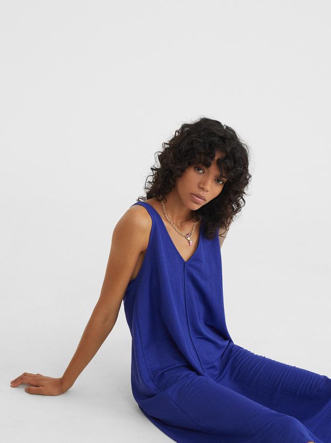 Vestido Fluido Escote Pico , Azul, hi-res