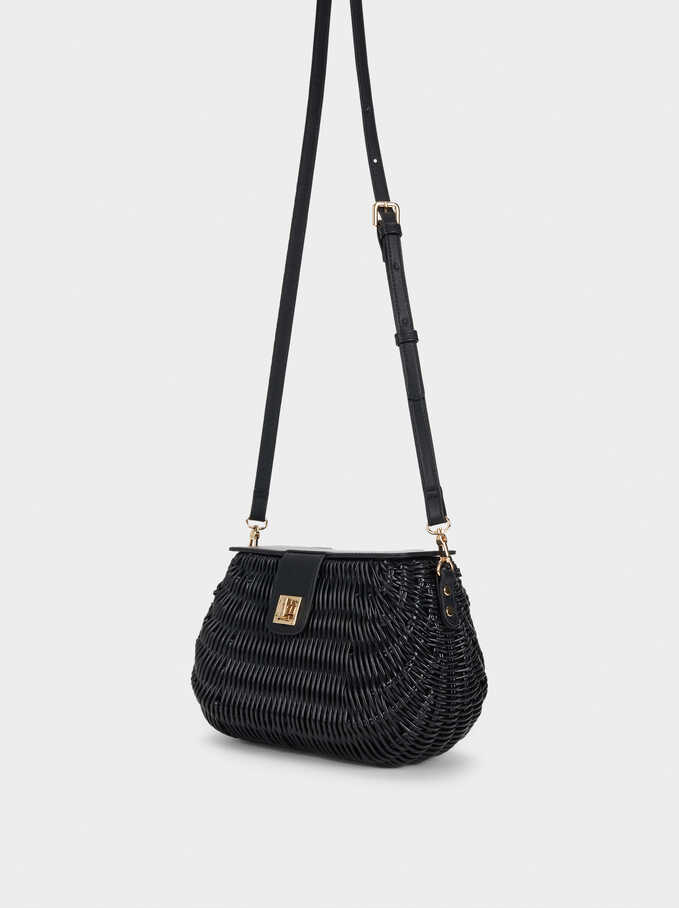 Straw Crossbody Bag With Gingham Lining, Black, hi-res