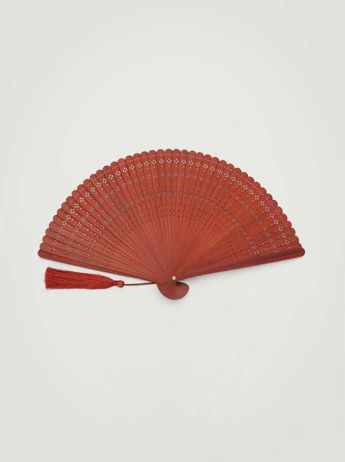 Fan With Tassels, Orange, hi-res