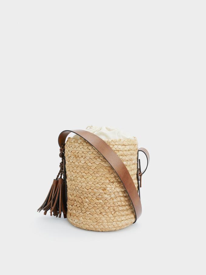 Jute Bucket Bag With Tassels, Beige, hi-res