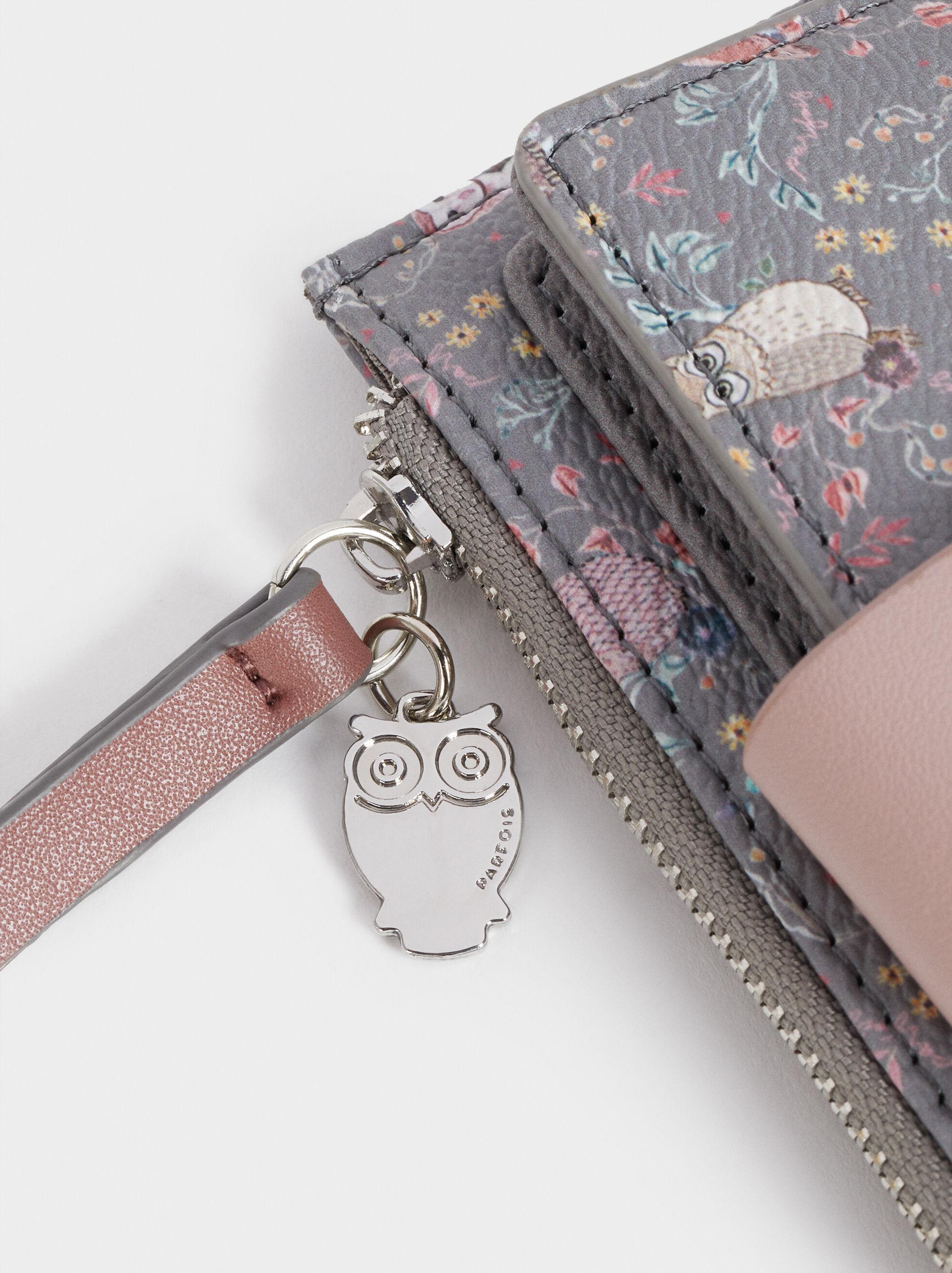 Large Owl Print Card Holder, Brown, hi-res