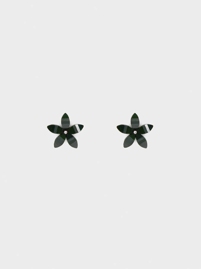 Short Earrings With Multicolour Flower, Green, hi-res