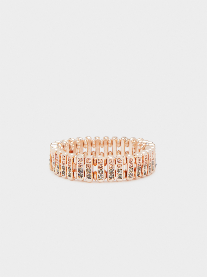Bracelet Élastique Avec Cristaux, Orange, hi-res