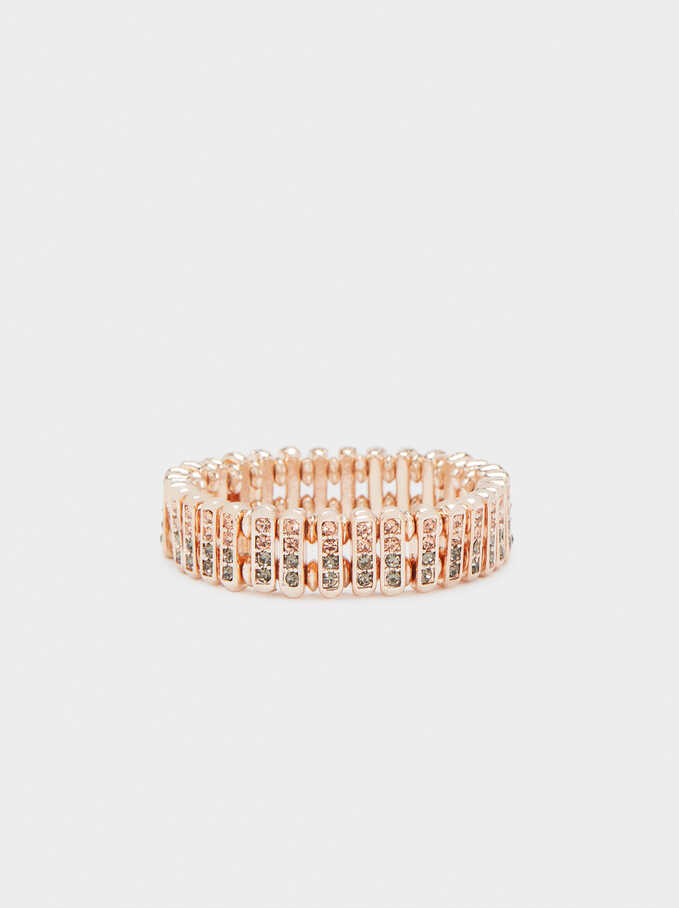 Elastic Bracelet With Crystals, Orange, hi-res
