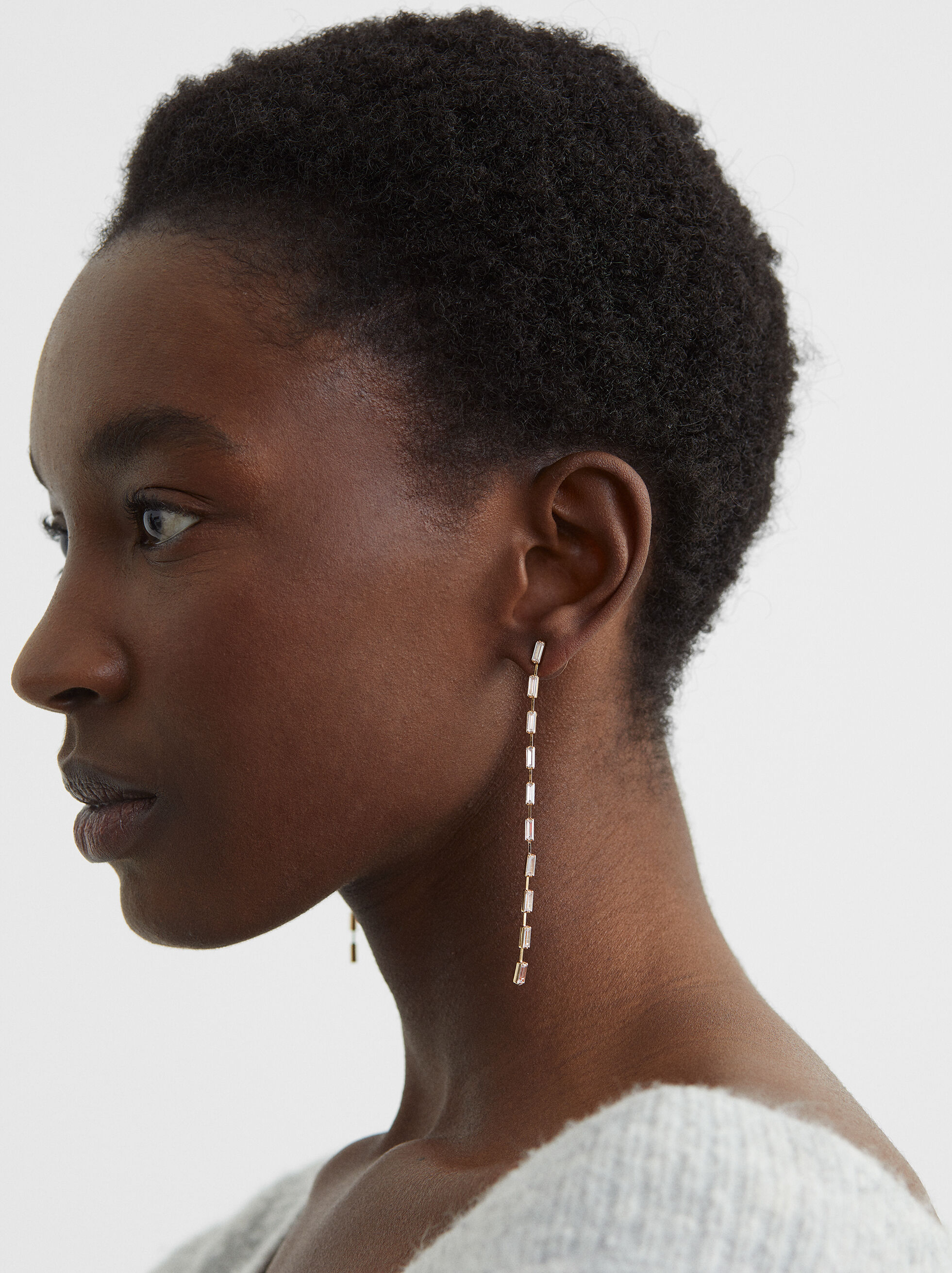 Extra Long Earrings With Crystals, , hi-res