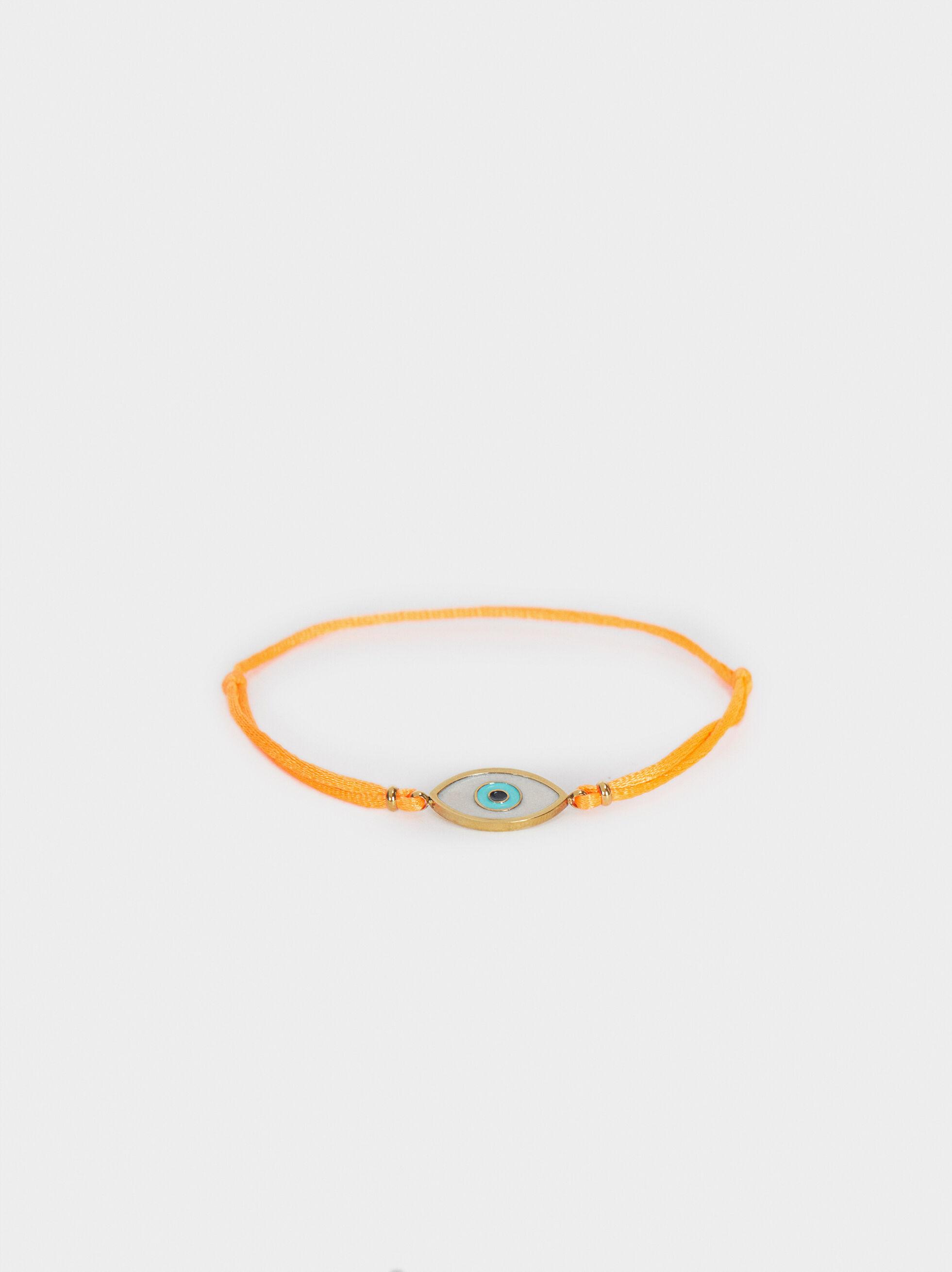 Braccialetto Regolabile In Corda Occhio, Arancione, hi-res