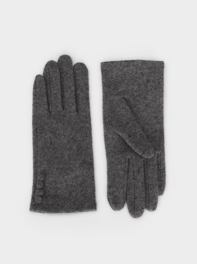 Wool Gloves, Grey, hi-res