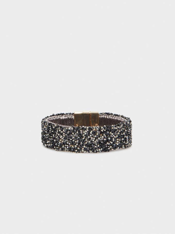 Rigid Bracelet With Beads, Golden, hi-res