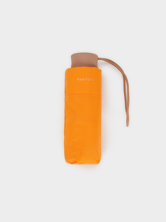 Small Folding Plain Umbrella, Orange, hi-res