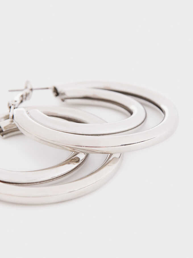 Large Silver-Toned Hoop Earrings, Silver, hi-res