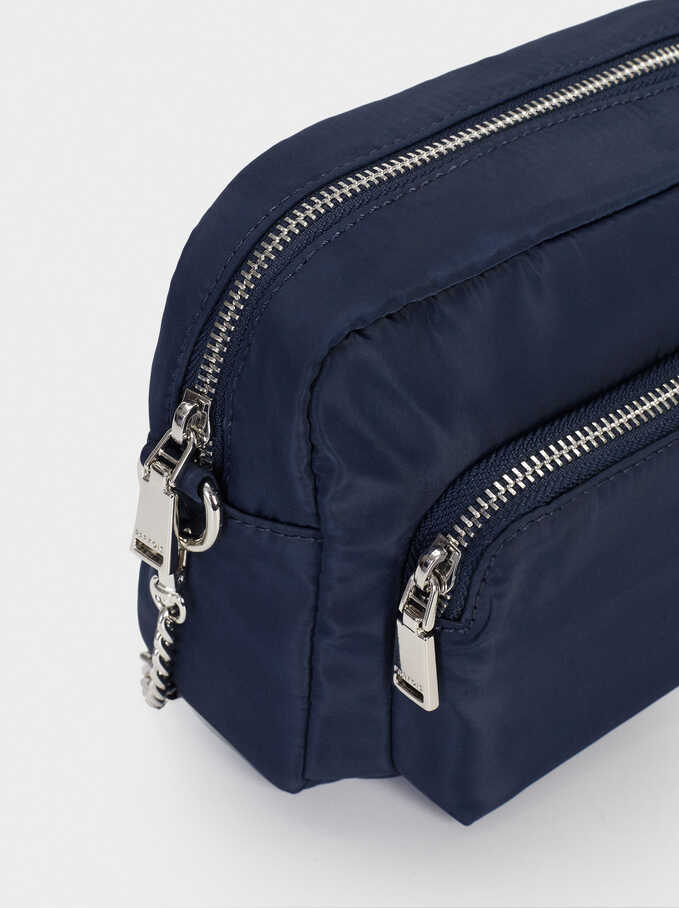 Nylon Crossbody Bag With Outer Pocket, Navy, hi-res