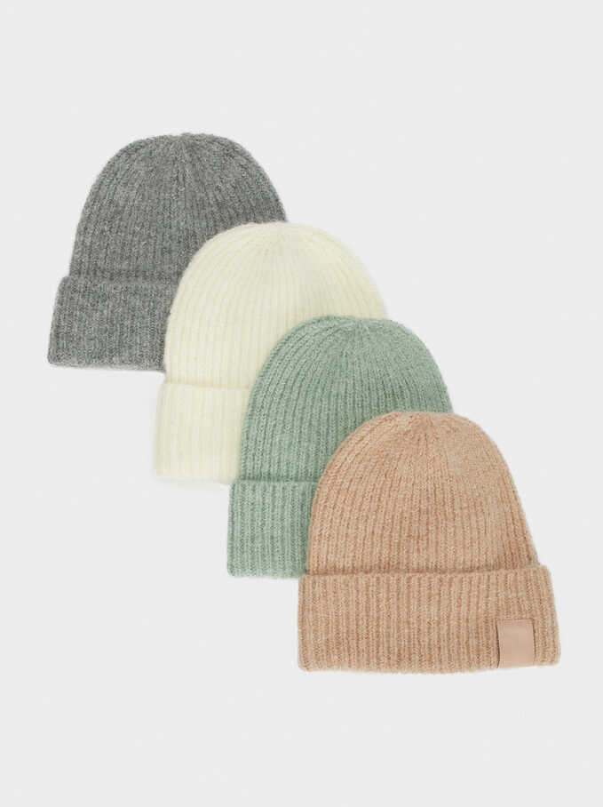 Knitted Turn-Up Hat, Grey, hi-res