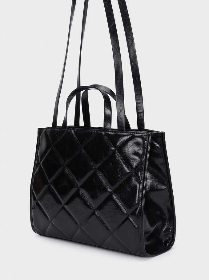 Quilted Tote Bag With Shoulder Strap, Black, hi-res