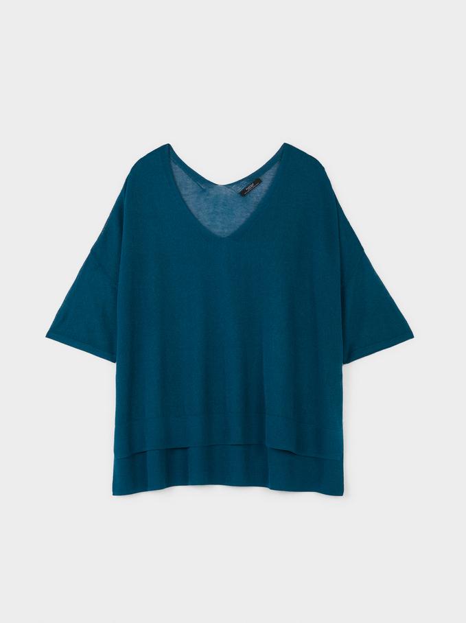 Short Sleeve Knit Top, Blue, hi-res