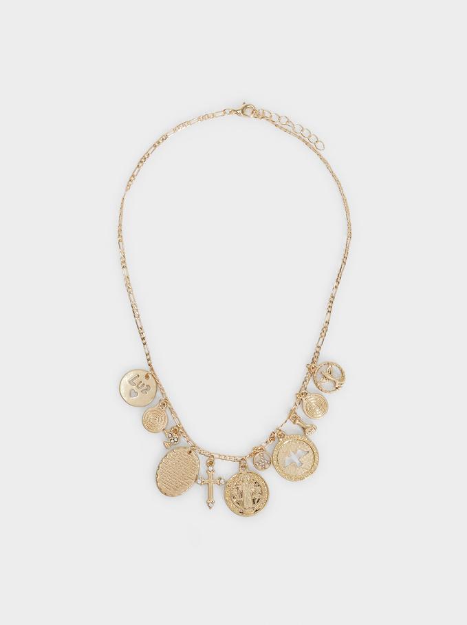 Short Necklace With Pendants, Golden, hi-res