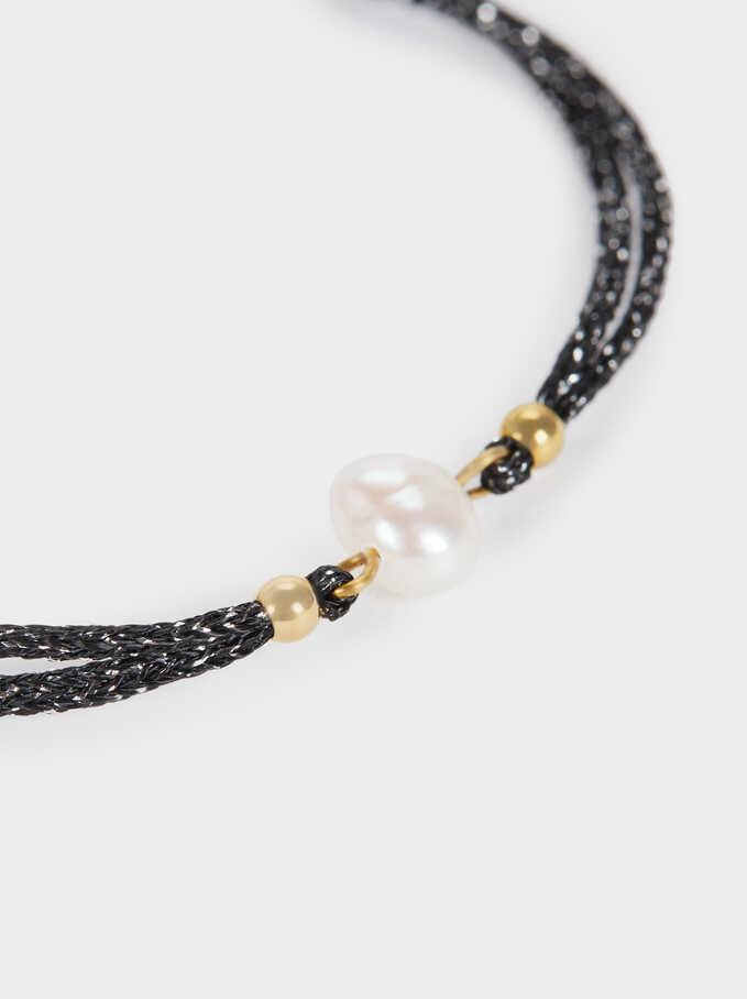 Adjustable Steel Bracelet With Pearl, Black, hi-res