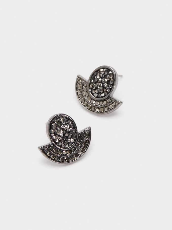 Small Earrings With Crystals, Black, hi-res