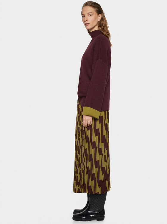 Printed Pleated Skirt, Green, hi-res