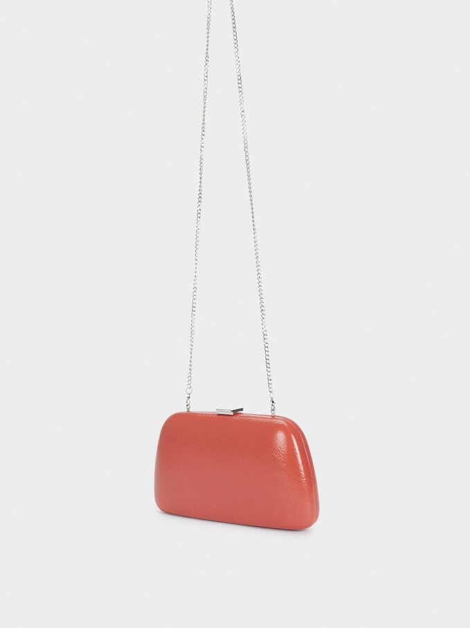 Party Clutch With Chain Handle, Coral, hi-res