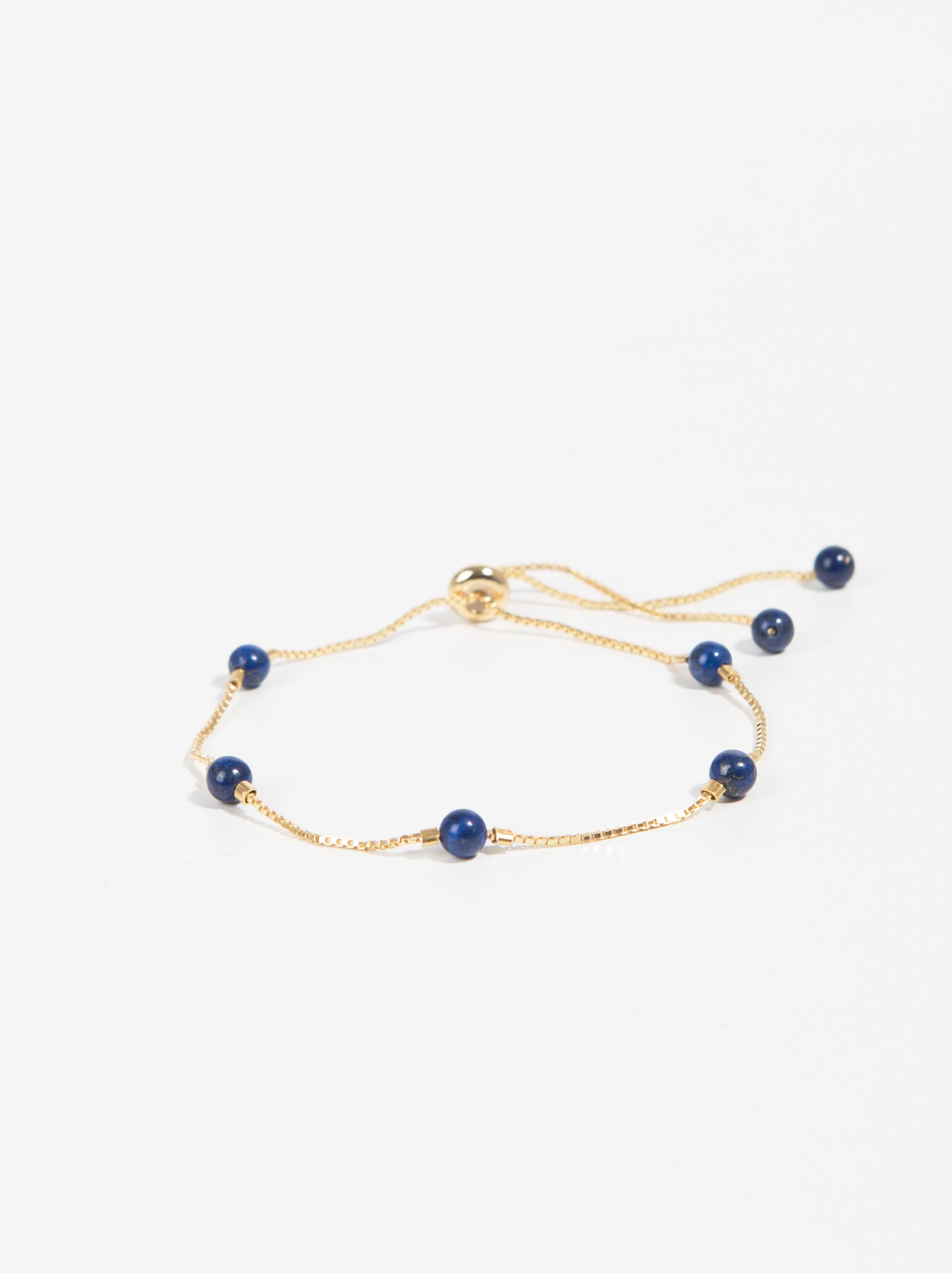 925 Sterling Silver Golden Bracelet | Real Stone, Golden, hi-res