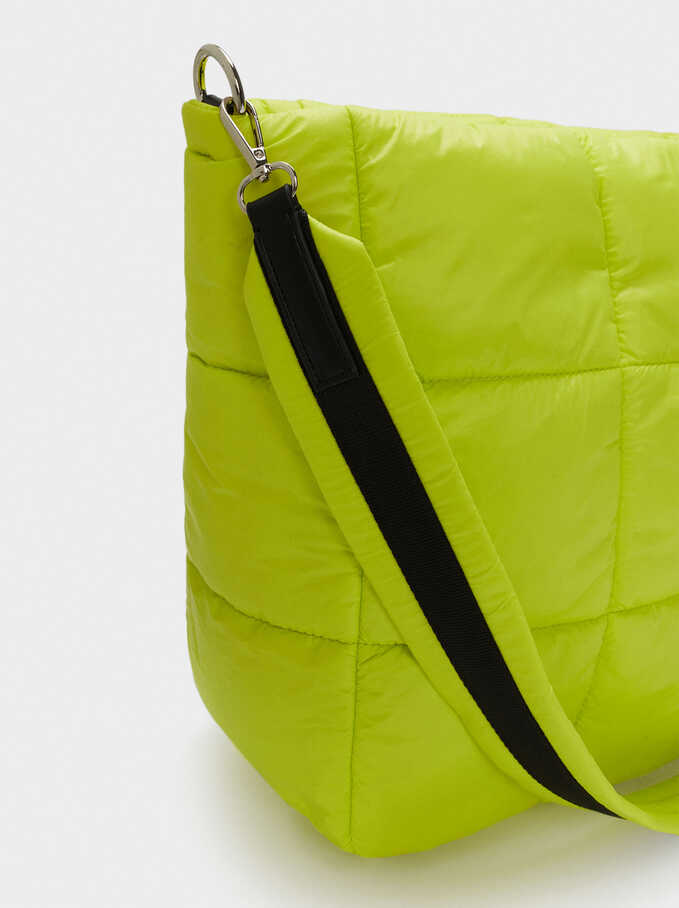 Quilted Nylon Tote Bag, Yellow, hi-res